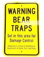 Bear Trap Warning Metal Sign 000BTWS